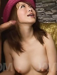 Sayaka Tsuzi Asian with big assets gets cum on them from blowjobs