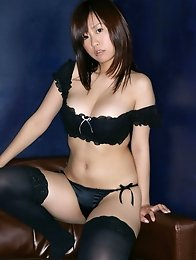 Hitomi Kitamura Asian with huge boobs is so erotic in stockings
