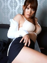 Meguru kosaka in tight skirt shows her huge knockers in white bra